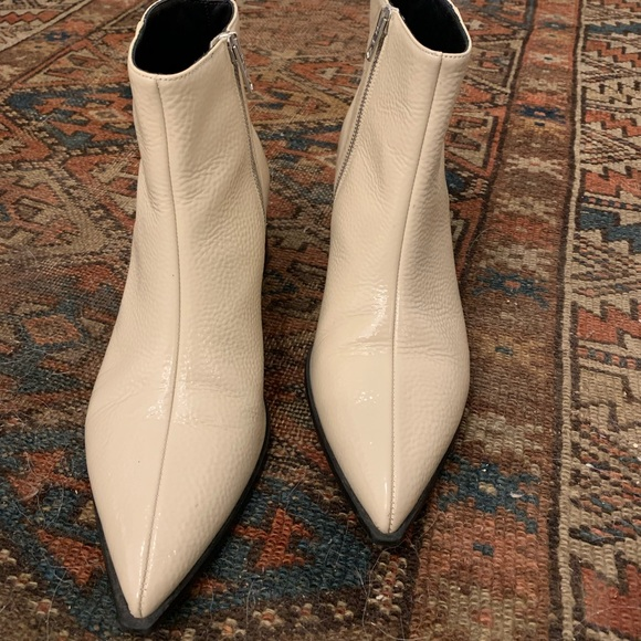 Boss Boots In White Patent Leather